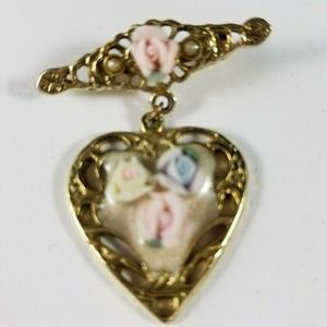 Vintage Goldtone Pink Roses Dangle Heart Brooch